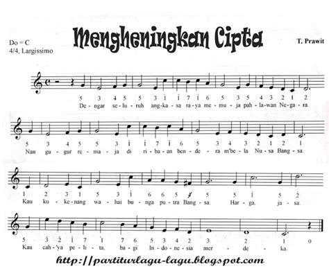partitur lagu bagimu negeri partitur lagu wajib dan nasional