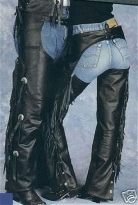 mensladies leather fringed concho motorcycle chaps sm