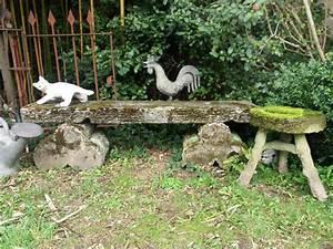 banc de jardin en ciment faux bois antiquites du With banc de jardin en ciment