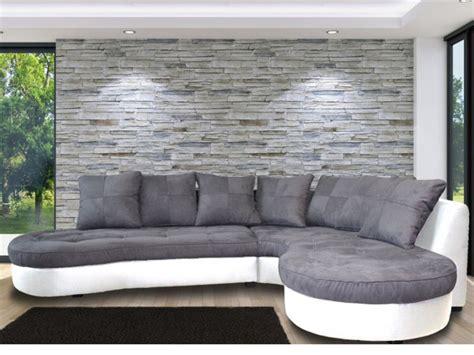 canapé d angle arrondi but canapé d 39 angle bimatière et 4 coloris bicolores stephane