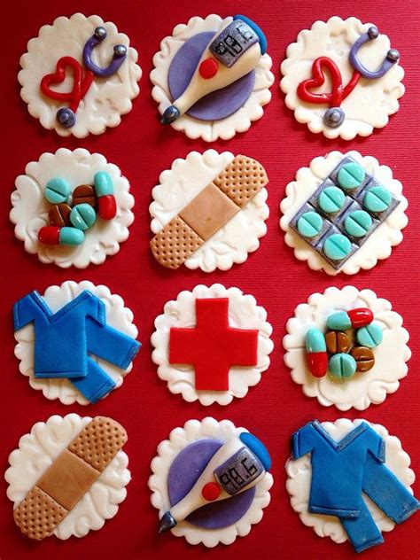 nurse cupcake toppers healthcare fondant medical