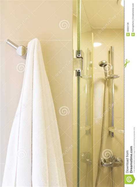 Towels Hanging In Bathroom Stock White Towel Stock Photo Image 56802138