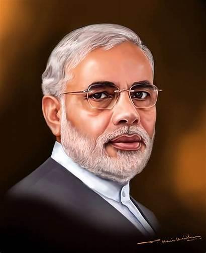 Modi Narendra Painting Portrait India Indian Drawing