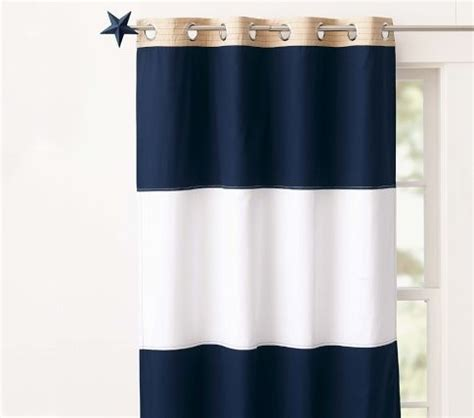 bold navy white stripe curtains decorating