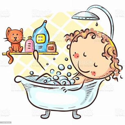 Bath Cartoon Taking Drawing Animal Bathroom Characters