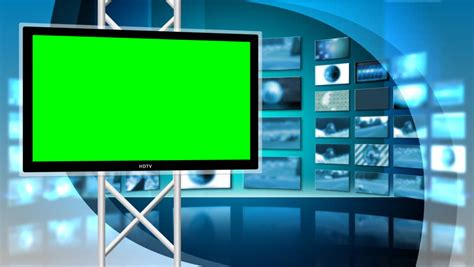 Tv Green Screen Template White by Virtual Set Stock Footage Video Shutterstock