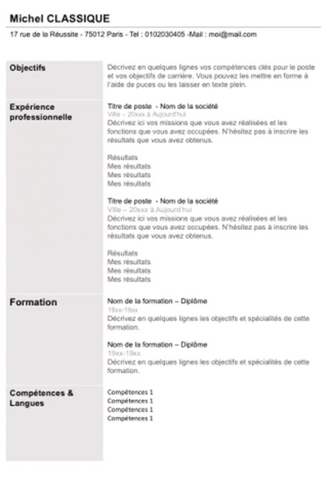 Exemple De Curriculum Vitae Professionnel by Curriculum Vitae Exemple Algerie