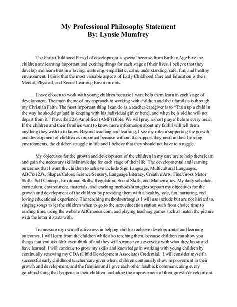 professional philosophy statement  lynsie mumfrey
