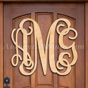 custom wooden monogram door hanger natural three letter With letter hangers