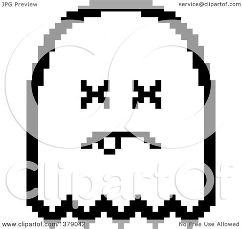 bit clipart black and white clipart of a black and white dead ghost in 8 bit style