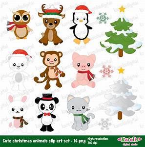 Cute christmas animals digital clip art set by karolisdigital