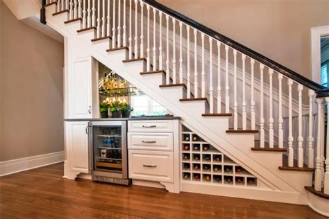 traditional wood staircase  bar  wine refrigerator