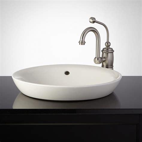 milforde porcelain semi recessed sink semi recessed