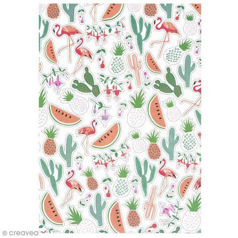 meilleur marque de cuisine papier paper patch tropical ananas cactus et pastèques 30 x 40 cm papier paper