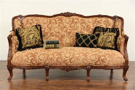 French Style 1930's Carved Vintage Sofa, New Upholstery