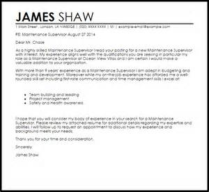 Stage Manager Resume Template Maintenance Supervisor Cover Letter Sle Livecareer
