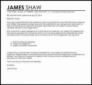 maintenance supervisor cover letter sample livecareer With cover letter for site supervisor
