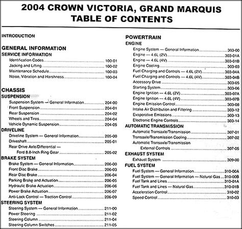 car manuals free online 2004 mercury grand marquis lane departure warning 2004 crown victoria grand marquis marauder repair shop manual original