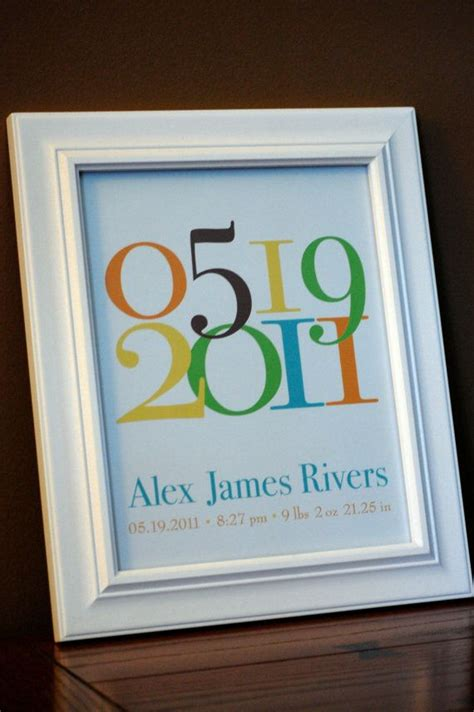 personalized baby gift nursery art important date birth