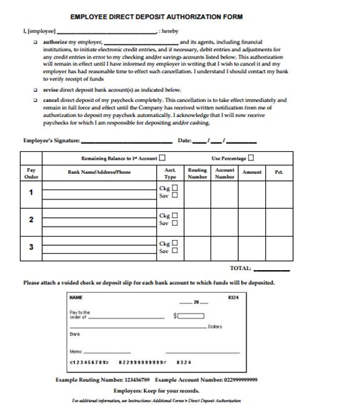direct deposit form template 4 direct deposit form templates formats exles in