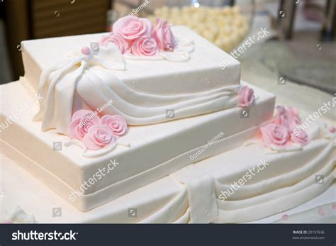 Three Tiered Wedding Cake White Icing Stock Photo 20197636