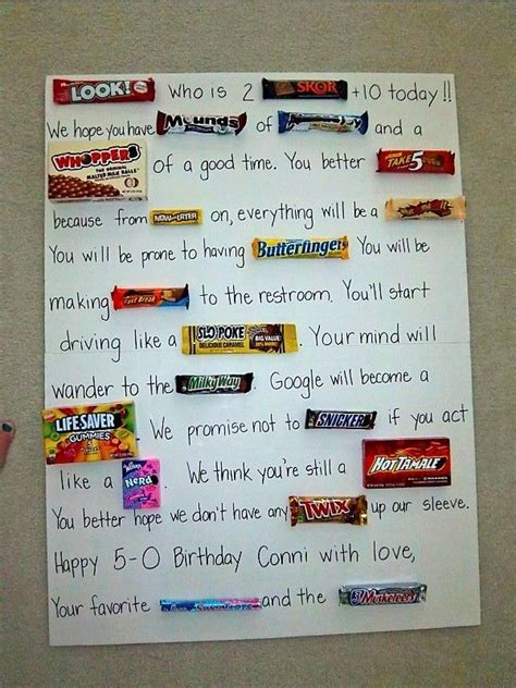 Custom birthday ecards that won't end up in the trash. 50th birthday candy card!!! Fun to make.   Candy birthday ...