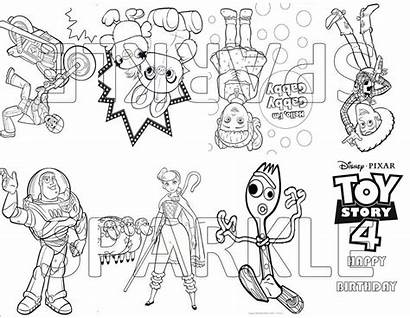 Toy Coloring Story Printable Birthday Bag Forky