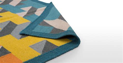 tapis bleu canard tapis laine rainbow    cm bleu