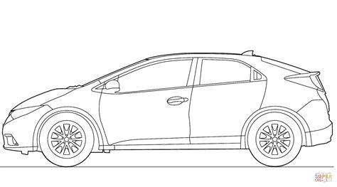 Kleurplaat Honda Civic Type R by Honda Civic 5 Door 2013 Coloring Page Free Printable