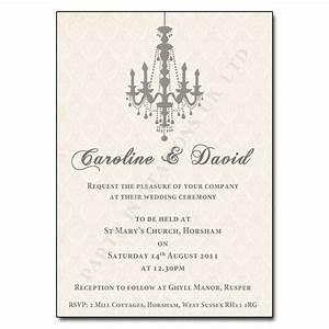 vintage chandelier wedding invitation ivory with silvery With wedding invitations in one day