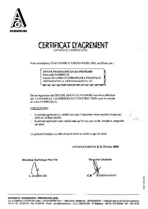 Accréditations – APAVE Madagascar