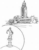 Coloring Nebraska Huskers Capitol Template sketch template