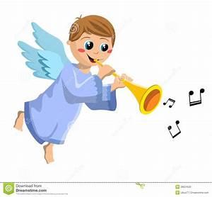 Christmas Angel Kid Playing Trumpet Stock Photo - Image ...