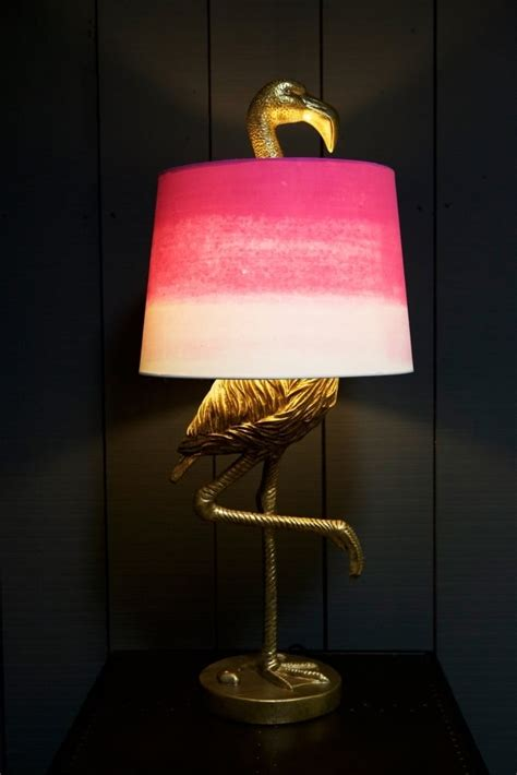 antique gold flamingo table lamp  pink white shade