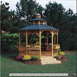Round, Wooden, Patio, Gazebo, Backyard, Outdoor, Pavilion, Garden, House, Yard, Hardtop, 10, 100024718391