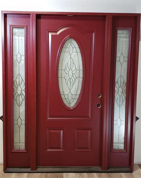 fiberglass entry oval glass sidelights exterior door red