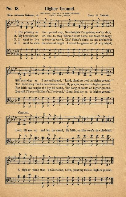sonday higher ground antique hymn page printable