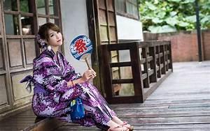 Wallpaper, Japanese, Girl, Purple, Kimono, Sit, Down, 1920x1200, Hd, Picture, Image