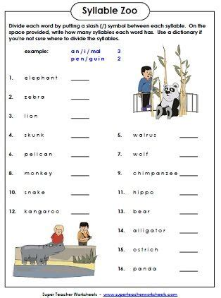 syllable zoo   fun phonics worksheet   students