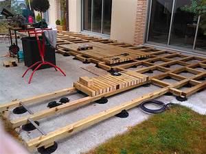 Support Terrasse Bois : cr ation d 39 une terrasse bois avec lambourde et plots ~ Premium-room.com Idées de Décoration