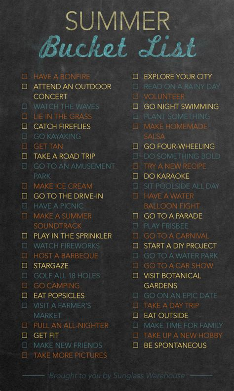 summer list 50 activities to try
