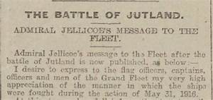 The Battle Of Jutland  A Message From Admiral Jellicoe
