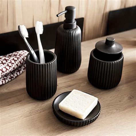 accessoires salle de bain noir mat