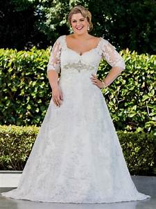plus size wedding dresses with lace sleeves naf dresses With lace plus size wedding dress