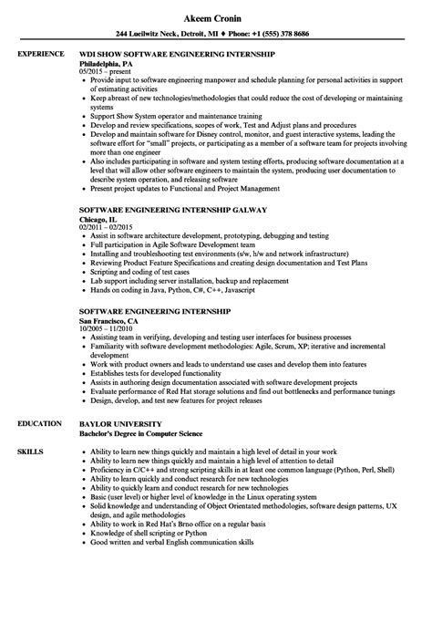 software engineering internship resume sles velvet