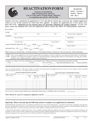 ucf id reactivation fill online printable fillable