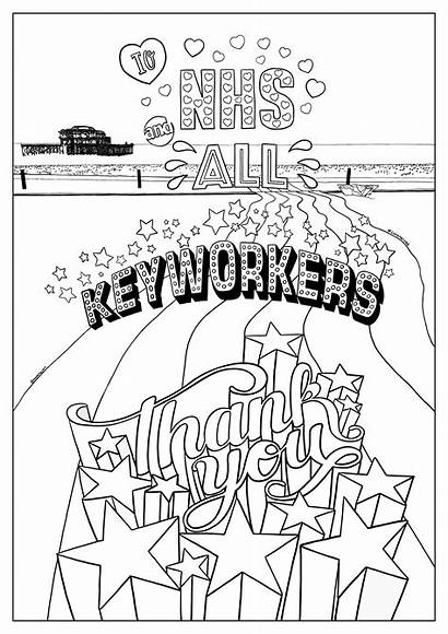 Nhs Thank Keyworkers Colouring Poster Key Workers