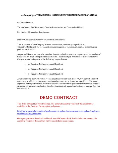 sample letter to terminate contract employment contract termination letter free printable