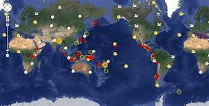 Map Of Active  Volcanoes And Recent  Earthquakes World