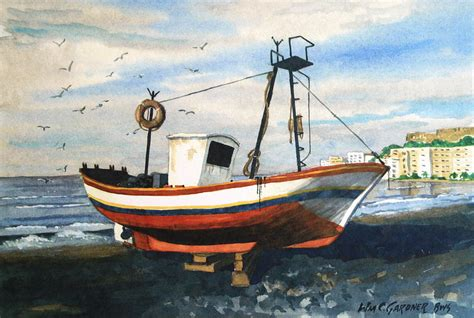 Fishing Boat Is Spanish by Spanish Fishing Boat Painting By William Gardner